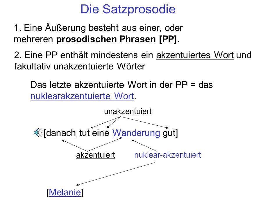 Die Satzprosodie 1. Eine Äußerung besteht aus einer, oder mehreren prosodischen Phrasen [PP].